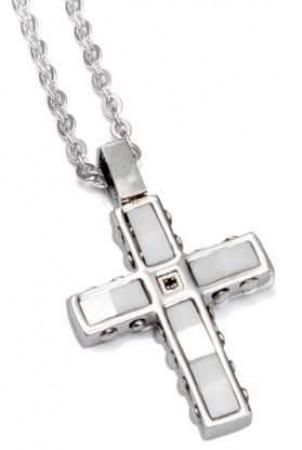 Collana con crocifisso in acciaio