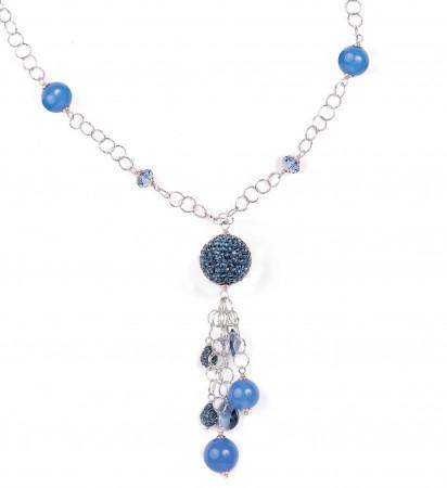 Collana in argento con Swarovski e boules di strass blu