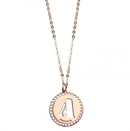 """Collana in bronzo rosato con """"A"""" traforata"""