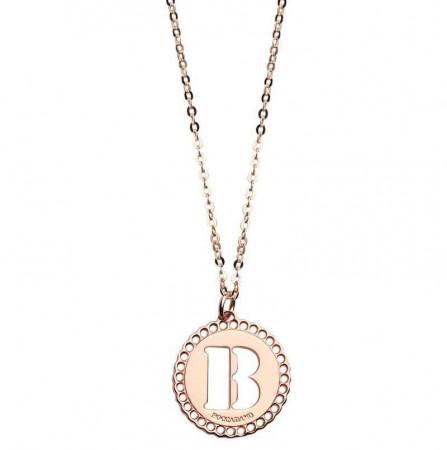 """Collana in bronzo rosato con """"B"""" traforata"""