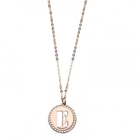 """Collana in bronzo rosato con """"E"""" traforata"""