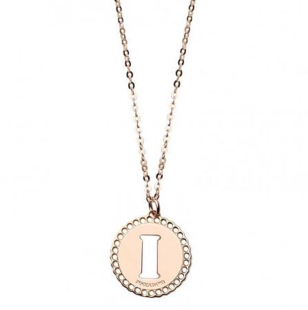 """Collana in bronzo rosato con """"I"""" traforata"""