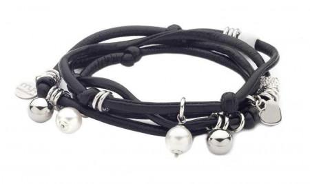 Bracciale in lycra nera lucida con perle Swarovski bianche