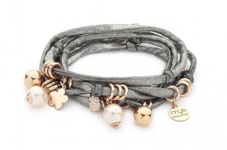 Bracciale in lycra argento con perle Swarovski color pesca