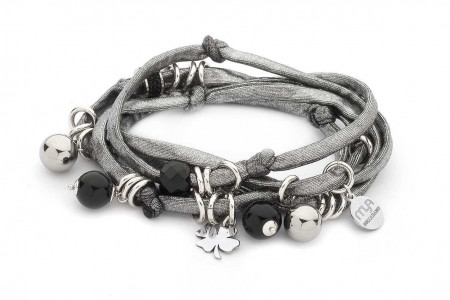 Bracciale in lycra argento con pietre dure nere