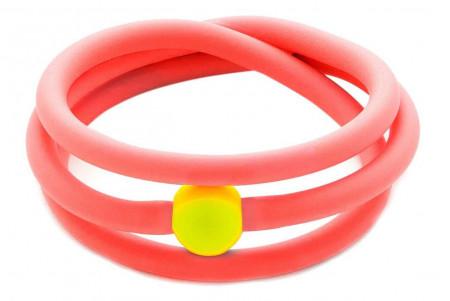 Bracciale fucsia fluo in gomma e perla Swarovski gialla