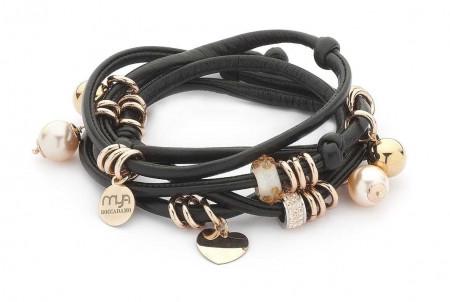 Bracciale in lycra nera lucida con perle Swarovski color pesca