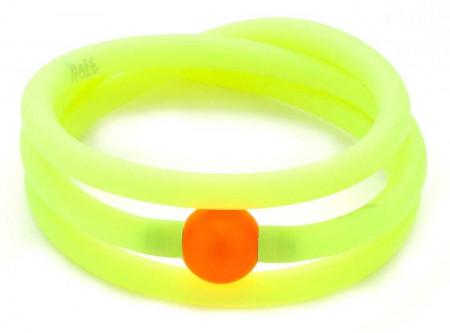 Bracciale giallo fluo in gomma e perla Swarovski
