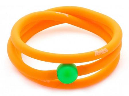 Bracciale arancione fluo in gomma e perla Swarovski verde