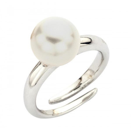 Ring in sterling silver and Swarovski pearl white