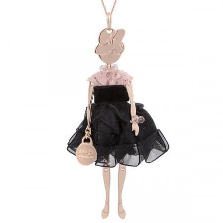 Collana con bambolina e perle Swarovski rosa antico