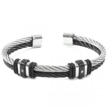 Bracciale in acciaio bianco e nero e zirconi