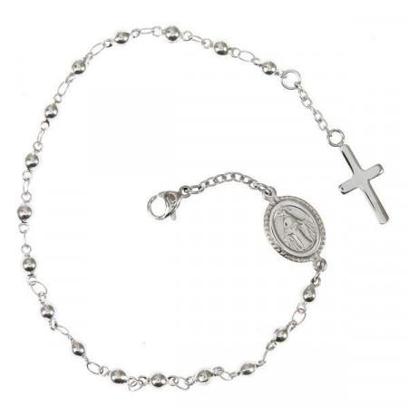 Bracciale rosario con boules bianche e iconografia sacra