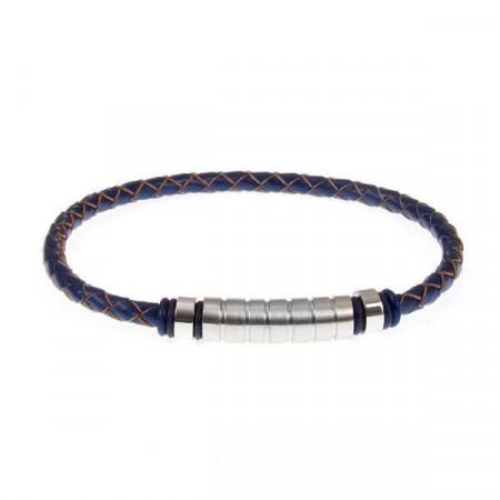 Bracciale in cuoio blu intrecciato ed inserti in acciaio