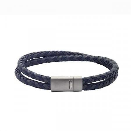 Bracciale in cuoio blu e grigio a doppia treccia