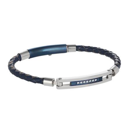 Bracciale in cuoio blu, acciaio e zirconi
