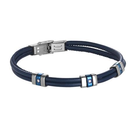 Bracciale doppio filo in cuoio blu con Pvd blu e zirconi
