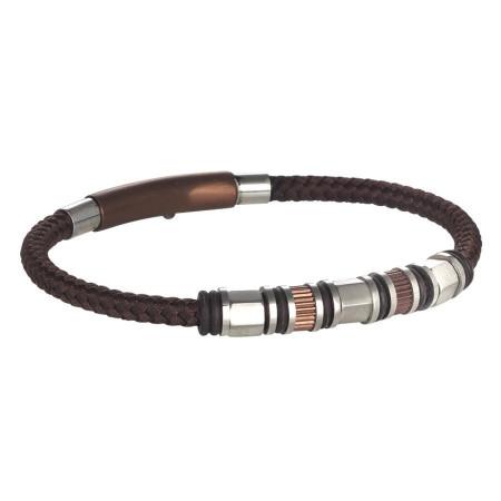 Bracciale in cuoio marrone intrecciato, passanti in acciaio e o-ring