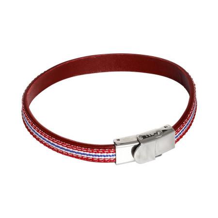 Bracciale in pelle naturale bordeaux ed inserti di nylon intrecciato rosso, bianco e blu