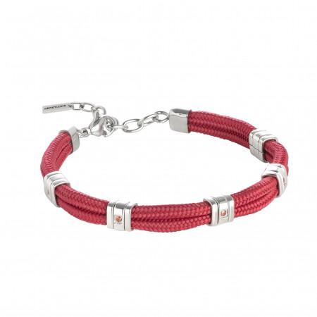 Bracciale in cordino marino rosso e cristalli rossi