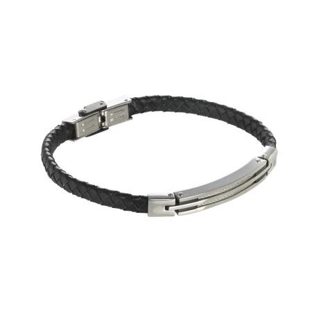 Bracciale in cuoio nero intrecciato con inserti in acciaio e decori neri