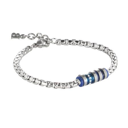 Bracciale in acciaio con elementi blu e zirconi
