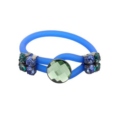 Bracciale in gomma blu con cristalli colorati