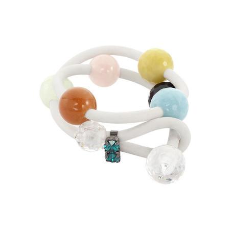 Bracciale in gomma bianca con cristalli e sfere colorate