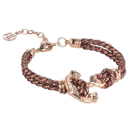 Bracciale rosato in cordino acetato torchon color bronzo con ancora