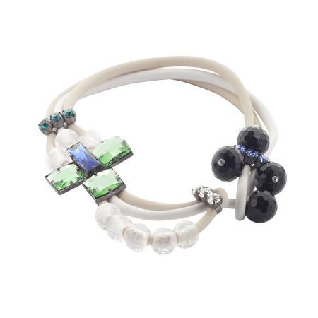 Collana in gomma bianca con cristalli colorati