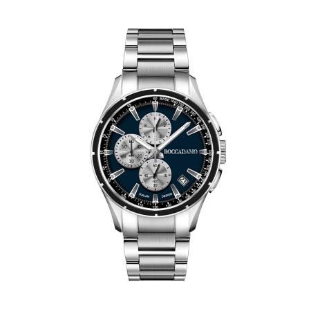 Cronografo in acciaio con quadrante blu e contatori silver