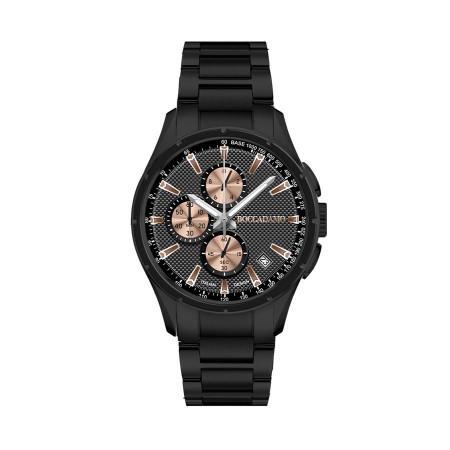 Cronografo in acciaio black con quadrante nero e contatori rosati