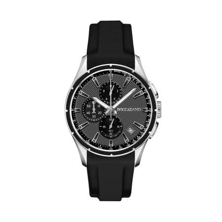 Cronografo in silicone nero con quadrante grigio e ardiglione in acciaio