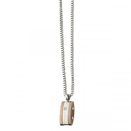 Collana uomo con pendente in acciaio bianco e placcato oro rosa