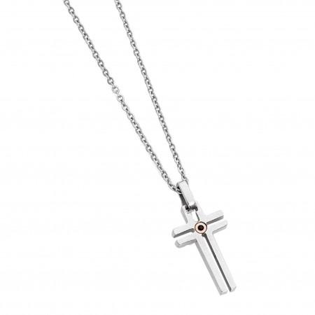 Collana in acciaio con pendente a croce e zircone nero