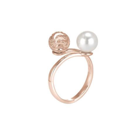 Anello in argento rosato con perla Swarovski e sfera diamantata effetto ondulato