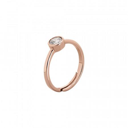Anello placcato oro rosa con zircone taglio diamante