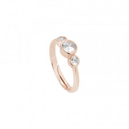 Anello placcato oro rosa con zirconi degradè taglio diamante