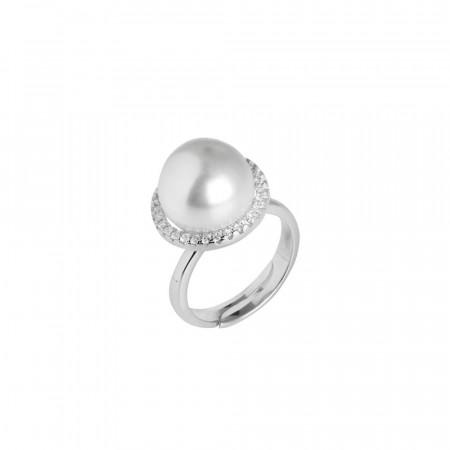 Anello con perla Swarovski e pavè di zirconi