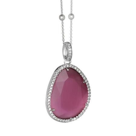 Collana con cristallo sfaccettato pink peony