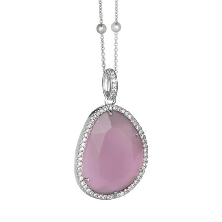 Collana con cristallo sfaccettato color quarzo rosa
