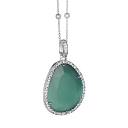Collana con cristallo sfaccettato green mint