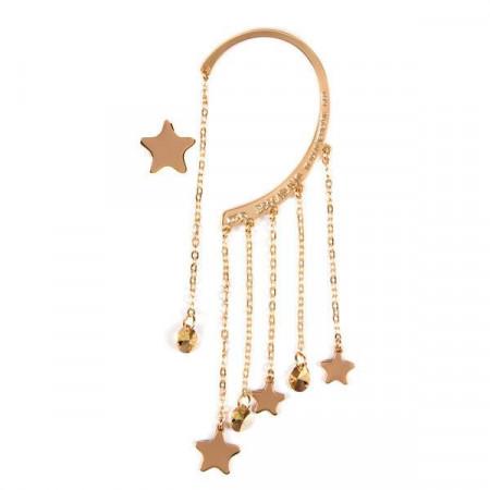 Ear cuff placcato oro giallo con cristalli Swarovski metallic sunshine