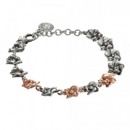 Bracciale in argento brunito con fiori di ciliegio bicolor