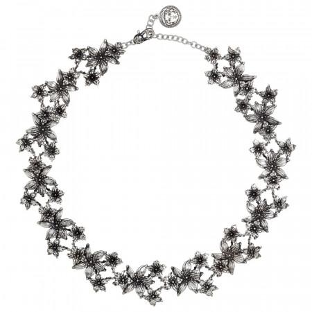 Collana in argento brunito con decoro di fiori di lilium