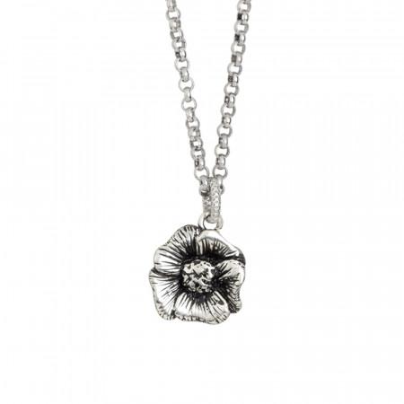 Collana in argento brunito con fiore di ciliegio pendente