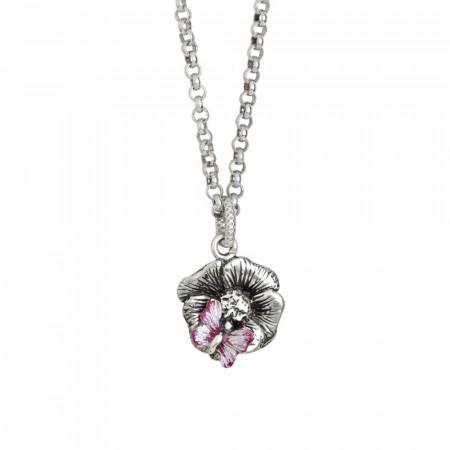 Collana in argento brunito con fiore di ciliegio pendente e farfalla dipinta a mano