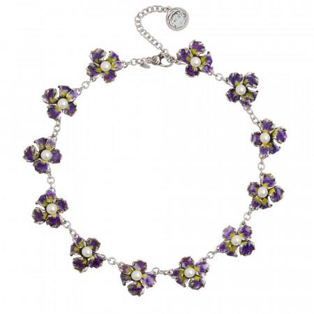 Collana con moduli di lilium in argento dipinto a mano e perle naturali