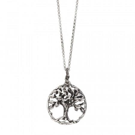 Collana in argento brunito con pendente circolare e albero della vita