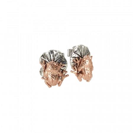 Orecchini con foglia di ninfea a lobo e ranocchio in argernto placcato oro rosa